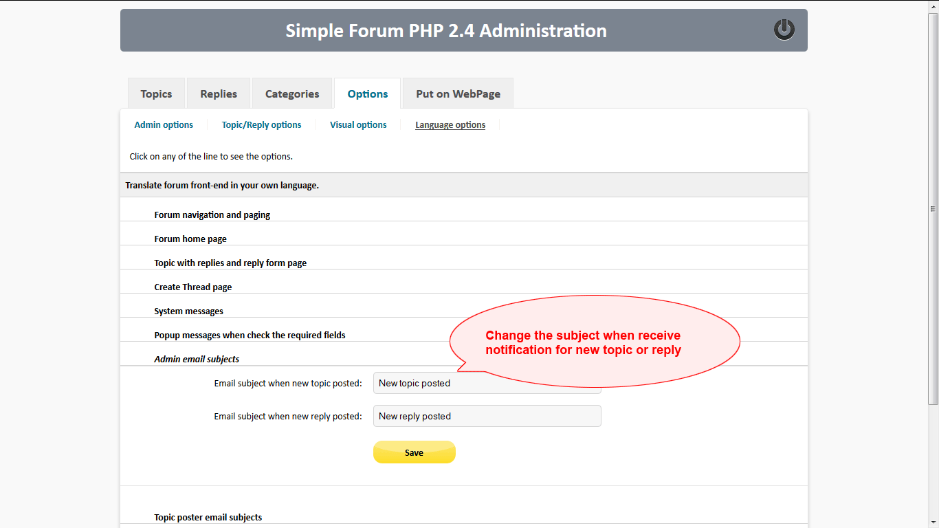How to change the subjects of email notifications to admin for new topic or reply in Simple Forum PHP 2.4