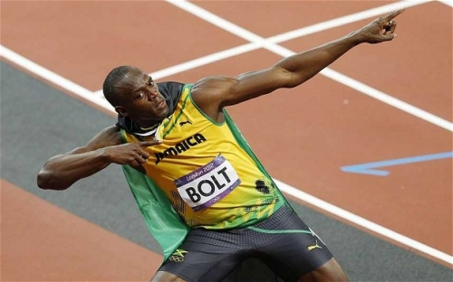 Jamaica's Usain Bolt strikes his signature pose