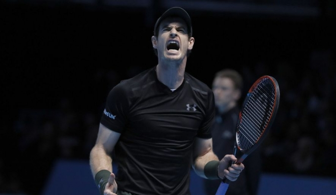 Andy Murray of Britain shouts after winning the ATP World Tour Finals singles final tennis.
