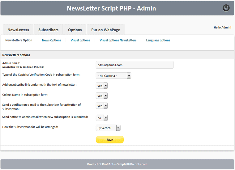 newsletter script php help and instructionsnewsletter script php newsletter options